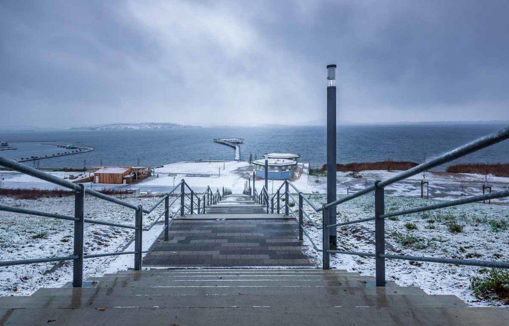 Hafen Braunsbedra bei Schnee